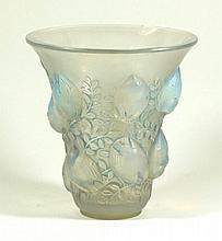 Rene Lalique opalescent vase of cylindrical form 'Saint-François' pattern,