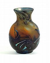 Contemporary Okra studio cameo glass vase of baluster form 'Sea Fever' patt