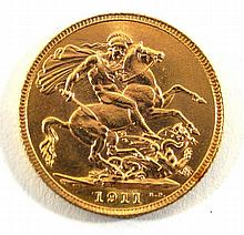 George V gold sovereign London Mint dated 1911.