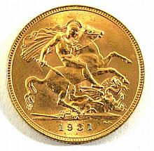 A George V gold sovereign South Africa Mint dated 1931