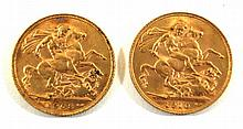 Two Edward VII gold sovereigns, London Mint dated 1908 and 1910 (2)