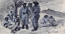 Tadeusz Was (Polish, 1912-2005) - 'Resting, Italy, 1944' Ink wash on paper,