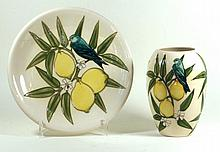 Modern Moorcroft two pieces decorated in the lemon pattern Ovoid form vase,