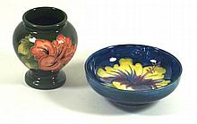 Walter Moorcroft two pieces decorated in the Hibiscus pattern Vase, height