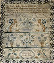 Early 19th Century hand stitched sampler Done by Gemma Brunt aged 12 and da