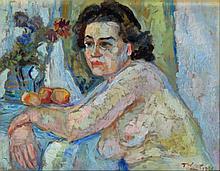Tadeusz Was (Polish, 1912-2005) - 'Angelina, Rome, 1946' Oil on canvas, sig
