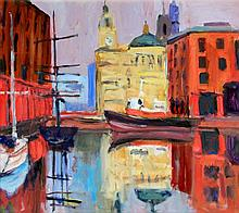 Paul Brassingthwaite (British, b.1963) - 'Liverpool Dock 1' Oil on board, a