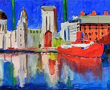 Paul Bassingthwaite (British, b.1963) - 'Liverpool Dock 2' Oil on board, ar