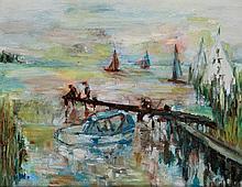 Hilda Washington (20th Century) - 'Fishing off the Jetty, Fleetwood' Oil on