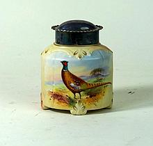 Locke & Co Worcester hand-painted tea caddy  With silver-plated cover, deco