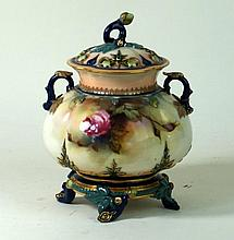 Hadley's Royal Worcester potpourri and cover  Having hand-painted decoratio