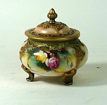 Hadley's Royal Worcester hand-painted pot pourri and cover Decorated with r