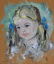 Robin Dudley Bailey (British, b. 1931) - 'Girl with blue Ribbons' Portrait