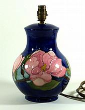 Moorcroft pottery baluster form table lamp Decorated in the Magnolia patter