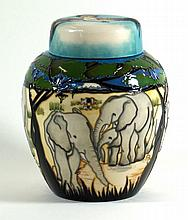 Modern Moorcroft pottery ginger jar and cover Decorated in the Treetops pat