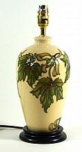 Modern Moorcroft pottery table lamp of cylindrical form Decorated in the au