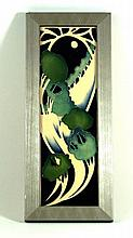 Modern Moorcroft pottery rectangular plaque Decorated in the Moonlit green