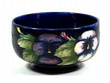 Walter Moorcroft pedestal bowl of cylindrical form Decorated in the Pansy p