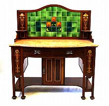 A good quality and highly decorative Art Nouveau inlaid mahogany washstand