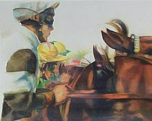 Alan Brassington (British, b.1959) - 'Jockeys on Race Horses' Watercolour,