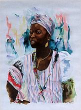Alan Brassington (British, b.1959) - 'African Lady' Watercolour, signed and