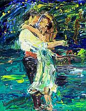 Alan Brassington (British, b.1959) - 'The Lovers' Oil on board, signed, app