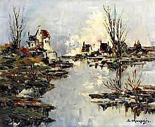 Christophe Charpides (French, 1902-1992) - 'Riverside Houses'  Oil on canva