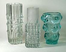 Riihimaki finish studio glass vase Of rectangular form, having relief decor