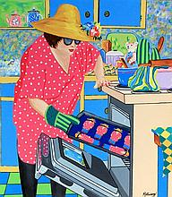 Janet Maud Rotenberg (Canadian, 1956-2007) - 'Baking Cakes' Oil on canvas,