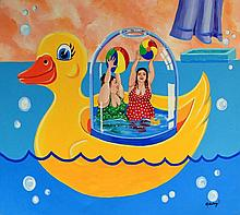 Janet Maud Rotenberg (Canadian, 1956-2007) - 'Rubber Duck' Oil on canvas, s