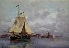 George Haite (1855-1924) - 'Sail Boats and Harbour' Oil, signed and dated (