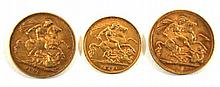 Queen Victoria gold sovereign, Melbourne Mint dated 1896 George V gold sove