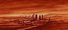 Trevor Grimshaw (British, 1947-2001) - 'Industrial Landscape' Watercolour,