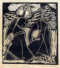 Tadeusz Was (Polish, 1912-2005) - 'Two Can Play' Pencil signed soot cut, al