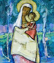 Tadeusz Was (Polish, 1912-2005) - 'Madonna and Child' Thick impasto oil/acr
