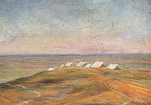 Tadeusz Was (Polish, 1912-2005) - 'Libya, 1942' Oil on canvas, signed, titl