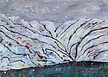 Simon Keenleyside (British, b. 1976) - 'Snow blizzard landscape' Oil on can