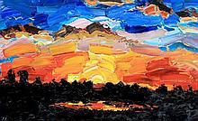 Alan Knight (British, b.1949) - 'Fiery Sunset' Thick impasto acrylic on boa