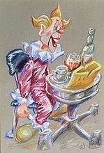 Charlie Shiels (British, 1947-2012) - 'The Clown' Pastel, signed, approx. 6