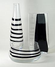Krosno Polish studio glass, three pieces  To include circular bowl, taperin
