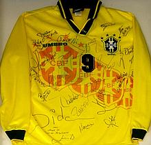 A 1994 Brazil National Team football jersey Complete with autographs includ