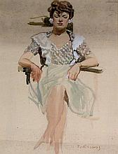 W F Briggs (20th Century) - 'Seated Lady' Watercolour, signed, approx. 47x3