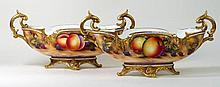 Royal Worcester, pair of twin handled hand-painted pedestal bowls Each deco