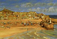 Sheila Tiffin (British, b. 1952) - 'St. Ives, Cornwall' Oil on canvas, sign