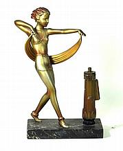 Art Deco style gilt spelter table lighter  Modelled in the form of a dancin