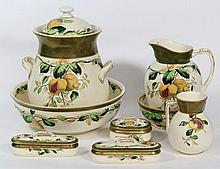 Wedgwood & Co Pomegranate nine piece toilet set Comprising slop bucket and