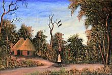 M Chikanga (South African, 20th Century) - 'Tribal Village' Oil on cotton,