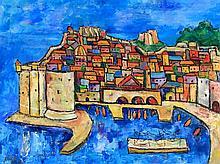 Yugoslavian School (20th Century) - 'Dubrovnik' Oil on canvas, indistinctly