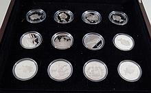 Cased silver proof Solomon Island commemorative set Comprising twelve silve