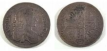 A Charles II silver crown dated 1676 with boars head flaw The flaw in front